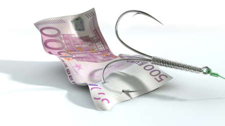 baited: A concept image showing a five hundred euro banknote used as bait attached to a treble fishhook and fishing line on an isolated white background