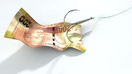 Une image de concept montrant un billet de deux cents rand utilisé comme appât attaché à un hameçon triple et la ligne de pêche sur un fond blanc Banque d'images - 29953481