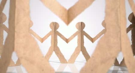 cardboard cutout: Un cerchio di colore marrone uomini cartone ritaglio su un isolato sfondo bianco studio