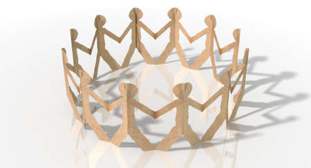 linked hands: A circle of brown cardboard cutout men on an isolated white studio background