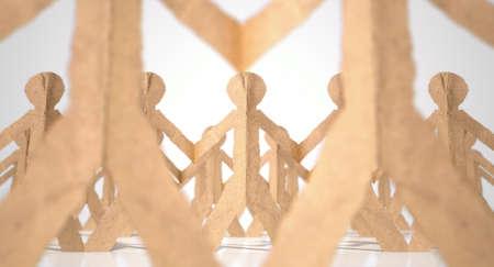 cardboard cutout: Una raccolta di lunghe file di uomini marroni cartone ritaglio su un isolato sfondo bianco studio