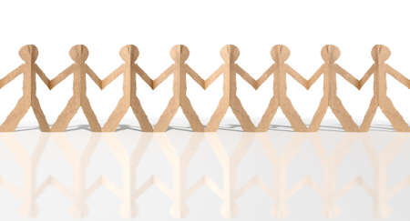cardboard cutout: A long row of brown cardboard cutout men on an isolated white studio background