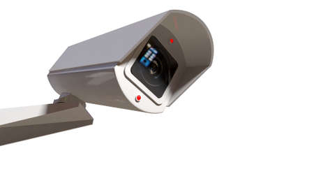 A white wireless surveillance camera with illuminated lights mounted on an isolated white wall with copy space photo