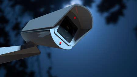 Een witte draadloze bewakingscamera met verlichte lampen gemonteerd op een muur in de nacht-tijd met een kopie ruimte