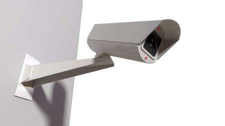 ccd camera: A white wireless surveillance camera with illuminated lights mounted on an isolated white wall with copy space