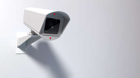 cmos: A white wireless surveillance camera with illuminated lights mounted on an isolated white wall with copy space