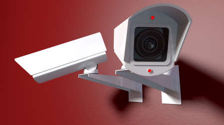 wall mounted: Two white wireless surveillance camera with illuminated lights mounted on an isolated red wall with copy space