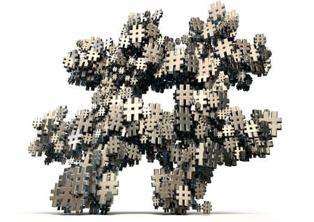 metadata: A concept image showing a collection of small metallic hashtags of various sizes arranged to make a larger hashtag on an isolated studio background