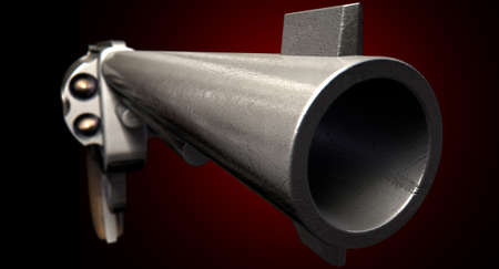 deadlock: A extreme close up perspective view of a barrel of a metal pistol gun on a dark red studio background
