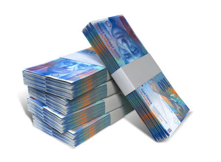 A stack of bundled Swiss Franc banknotes on an isolated background Stock Photo