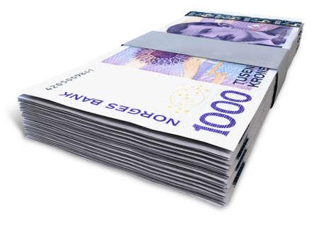 Een stapel van gebundelde Noorse Kroon bankbiljetten op een geïsoleerde achtergrond