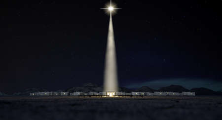 A nativity scene of christs birth in bethlehem with the isolated run down stable being lit by a bright star on a dark blue sky background