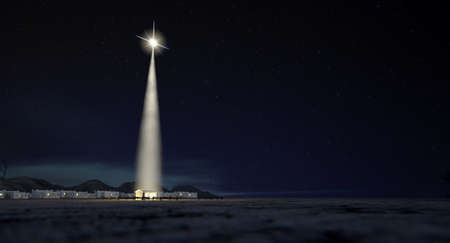 christmas stars: A nativity scene of christs birth in bethlehem with the isolated run down stable being lit by a bright star on a dark blue sky background