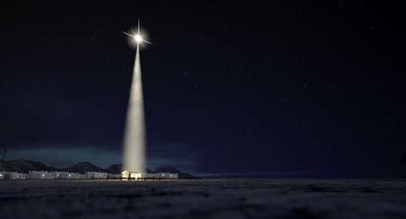 Een kerststal van christussen geboorte in Bethlehem met de geïsoleerde run down stabiel wordt verlicht door een heldere ster op een donker blauwe hemel achtergrond