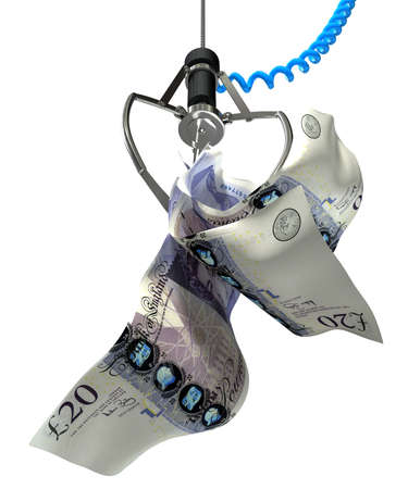 An robotic claw from an arcade type game gripping a wad of creased British Pound Sterling banknotes on an isolated white background photo