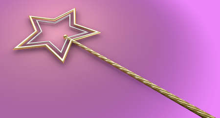 witchery: A concept showing a mythical magic wand made with gold and silver stars on an isolated pink surface
