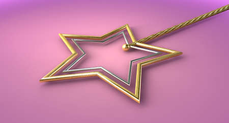 conjuring: A concept showing a mythical magic wand made with gold and silver stars on an isolated pink surface