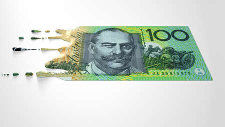 liquified: A concept image showing a regular Australian Dollar banknote that is half melted and liquified dripping on an isolated studdio background