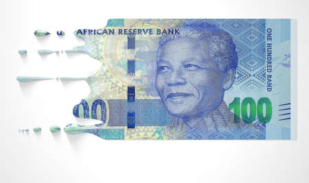 vanish: A concept image showing a regular South African Rand banknote that is half melted and liquified dripping on an isolated studdio background