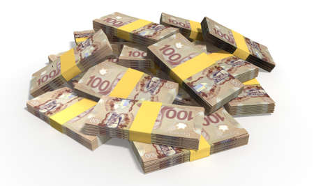 wads: A pile of randomly scattered wads of Canadian Dollar banknotes on an isolated background Stock Photo