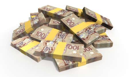 Een stapel van willekeurig verspreid proppen Canadese Dollar biljetten op een geïsoleerde achtergrond Stockfoto