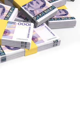 randomly: A pile of randomly scattered wads of Norwegian Krone banknotes on an isolated background Stock Photo