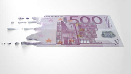 vanish: A concept image showing a regular Euro banknote that is half melted and liquified dripping on an isolated studdio background Stock Photo