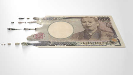 liquified: A concept image showing a regular Japanese Yen banknote that is half melted and liquified dripping on an isolated studdio background