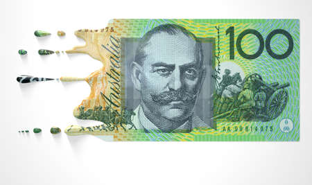 A concept image showing a regular Australian Dollar banknote that is half melted and liquified dripping on an isolated studdio background