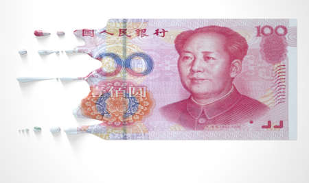 liquified: A concept image showing a regular Chinese Yuan banknote that is half melted and liquified dripping on an isolated studdio background Stock Photo