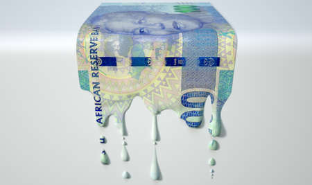 south african: A concept image showing a regular South African Rand banknote that is half melted and liquified dripping on an isolated studdio background