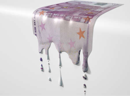 liquified: A concept image showing a regular Euro banknote that is half melted and liquified dripping on an isolated studdio background Stock Photo