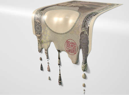 A concept image showing a regular Japanese Yen banknote that is half melted and liquified dripping on an isolated studdio background