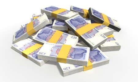 libra esterlina: Un montón de fajos de billetes esparcidos al azar libra esterlina británica sobre un fondo aislado
