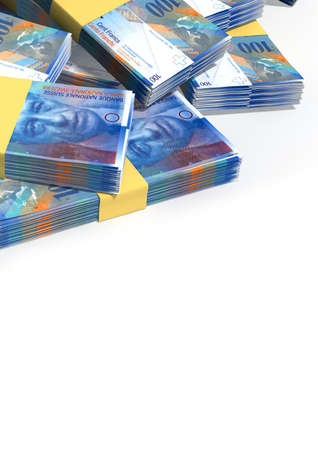 frank szwajcarski: Stos przypadkowo rozrzuconych przybitki banknotów Frank szwajcarski na pojedyncze tle