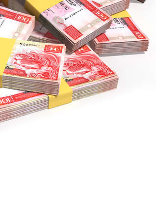wads: A pile of randomly scattered wads of hong kong dollar banknotes on an isolated background