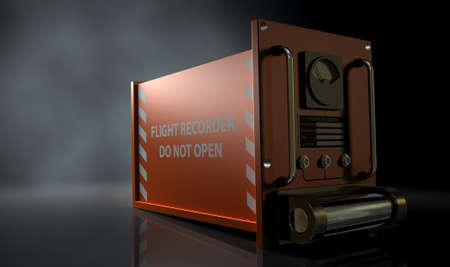 A regular aviation flight recorder black box painted in orange on a dark isolated studio background photo