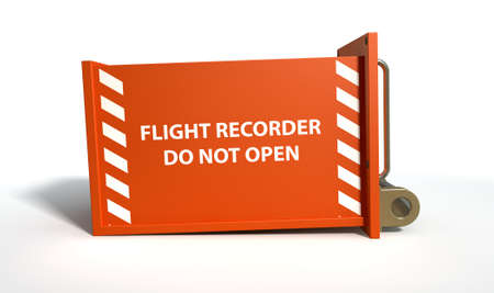 A regular aviation flight recorder black box painted in orange on an isolated white studio background photo