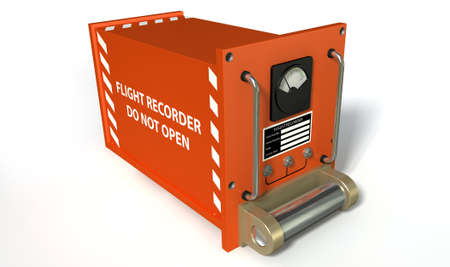 regular: A regular aviation flight recorder black box painted in orange on an isolated white studio background