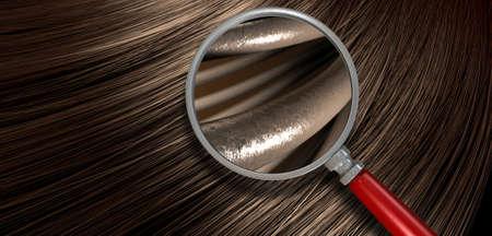 cerrar: Una vista de cerca de un montón de brillante pelo castaño recta en un estilo curvo ondulado con una sección al microscopio magnifica para mostrar hebras individuales de cabello