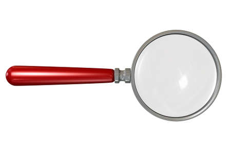 A regular magnifying glass with a wooden red handle on an isolated white studio background photo