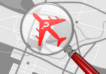 depicting: A silhouette of a plane with a question mark flying above a gps type land map  magnified by a magnifying glass depicting searching for a missing airplane Stock Photo