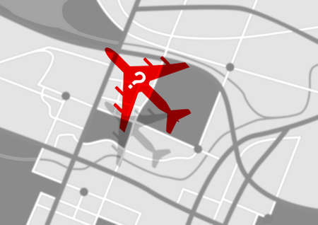 disappear: A silhouette of a plane with a question mark flying above a gps type land map depicting a missing airplane