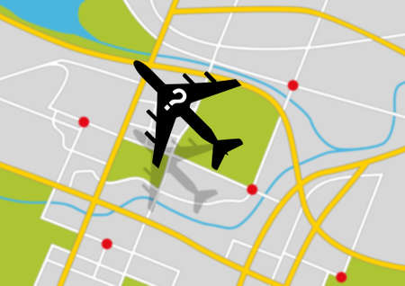 A silhouette of a plane with a question mark flying above a gps type land map depicting a missing airplane photo