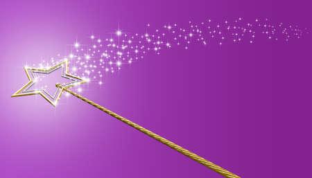 신화 마술 지팡이를 보여주는 개념은 금과은 별 격리 된 핑크 표면에 마법의 반짝임의 흔적을 남겨두고 만든 스톡 콘텐츠