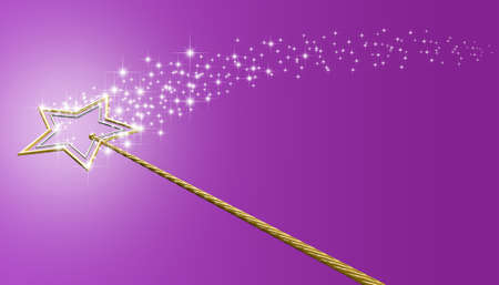 A concept showing a mythical magic wand made with gold and silver stars leaving behind a trail of magical sparkles on an isolated pink surface Stock Photo