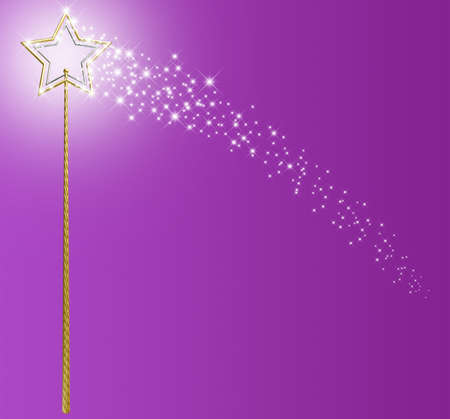 conjuring: A concept showing a mythical magic wand made with gold and silver stars leaving behind a trail of magical sparkles on an isolated pink surface Stock Photo