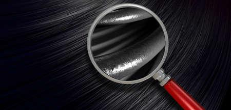 부와 물결 모양의 곡선 스타일에 반짝이 직선 검은 머리의 한 무리의 근접 촬영보기는 현미경으로 머리카락의 개별 가닥을 표시 확대 스톡 콘텐츠