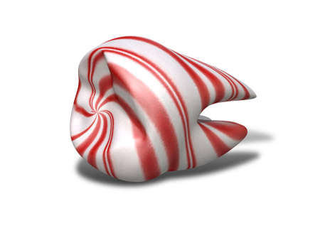 craving: A concept image showing a single molar tooth and roots made out of red and white striped candy on an isolated white background