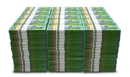 Ein Haufen Bündel von Dollar-Banknoten australian auf einem isolierten Hintergrund